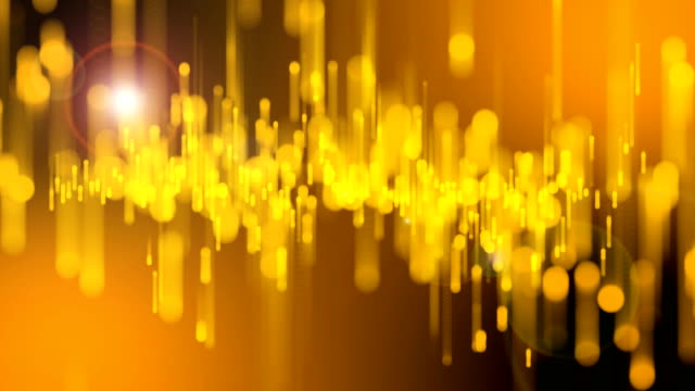 4k Beautiful Bokeh and Light Beams, Gold Particles Background