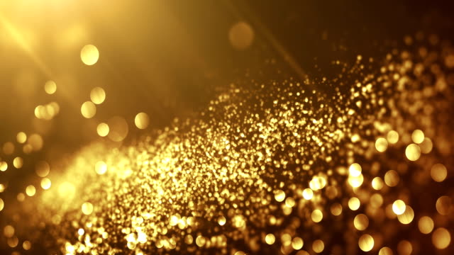 4k beautiful bokeh and light beams (dark gold) - loop - abstract art stock videos & royalty-free footage