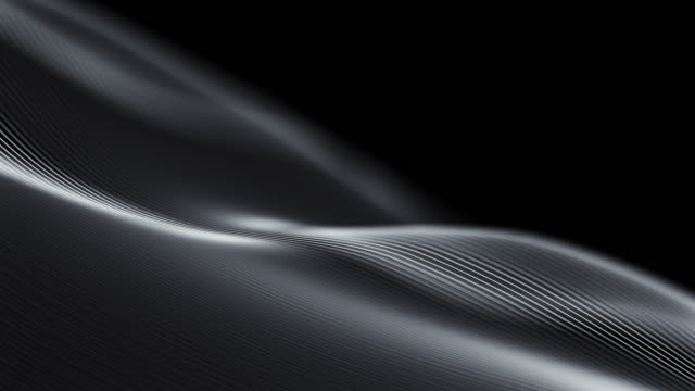 Video 4k Beautiful Waving Lines Background (Black) - Loopable
