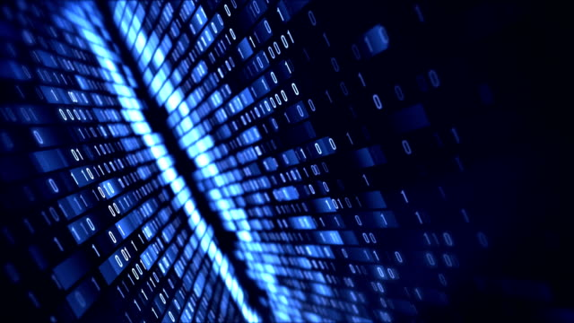 4k Binary Code Loop (Blue): Data Transfer, AI, Cloud Computing video