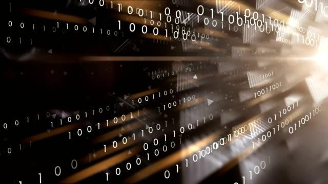 vídeos de stock e filmes b-roll de 4k binary code transfer (black) - loop - bit código binário