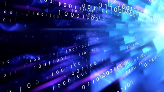 vídeos de stock e filmes b-roll de 4k binary code transfer (blue) - loop - bit código binário
