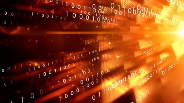 vídeos de stock e filmes b-roll de 4k binary code transfer (orange) - loop - bit código binário