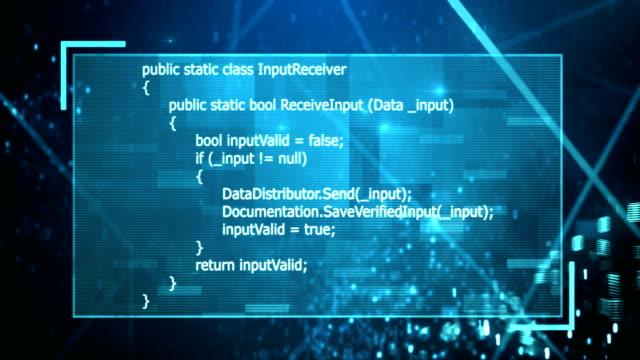 4k Binary Data Flowing Through Program (Blue) video