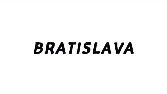 4k Black word Bratislava with white background