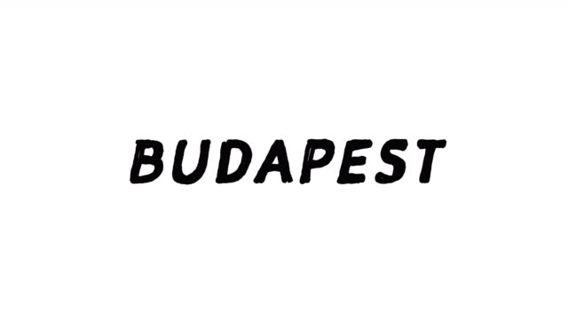 4k Black word Budapest with white background