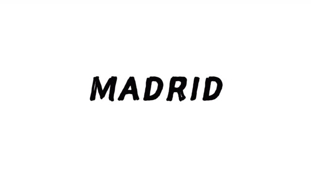4k Black word Madrid with white background