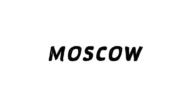 4k Black word Moscow with white background