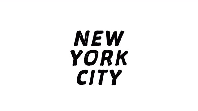 4k Black word NEW YORK CITY with white background