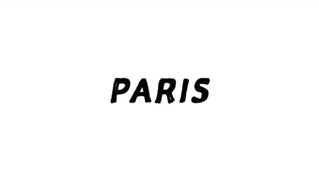 4k Black word Paris with white background