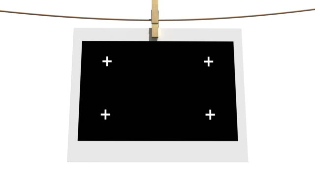 4k Blank photos on the clothesline isolated with luma matte 4k Blank photos on the clothesline isolated with luma matte polaroid frame stock videos & royalty-free footage