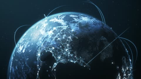 4k Blue Earth With Connection Lines - Loopable - International Network / Flight Routes Highly detailed animation, perfectly usable for all kinds of topics related to international business, global networks or commercial flight routes. computer network stock videos & royalty-free footage