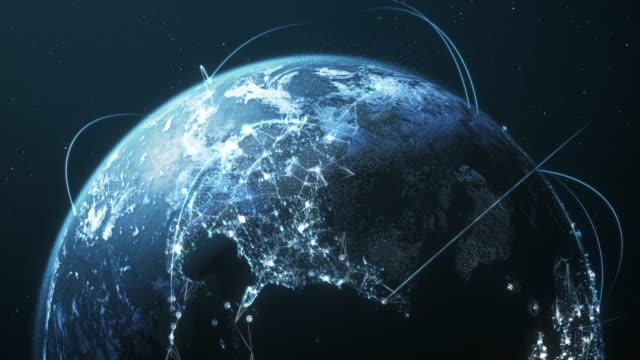 4k blue earth with connection lines - loopable - international network / flight routes - world map stock videos & royalty-free footage