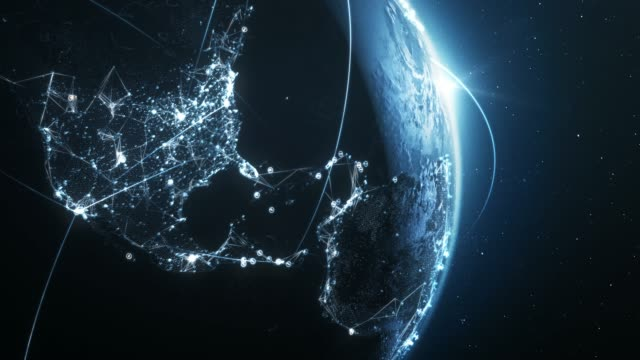 4k blue earth with connection lines (close up) - loopable - international network / flight routes - world map stock videos & royalty-free footage