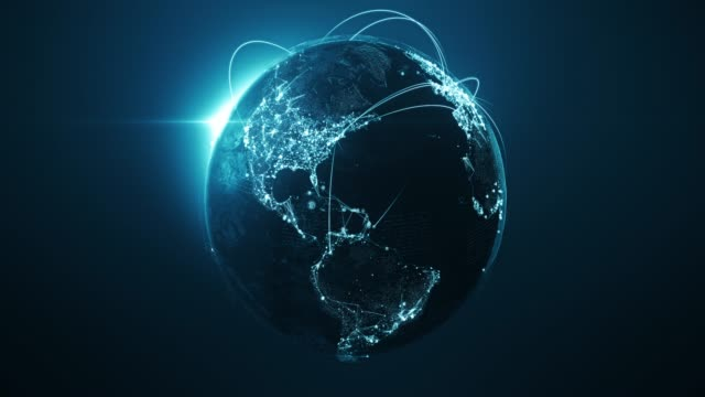 vídeos de stock e filmes b-roll de 4k blue globe with connection lines (centered) - loopable after six seconds - international network / flight routes - roda