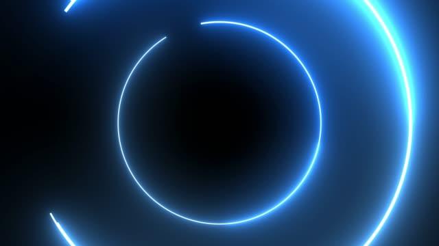 4k Blue Neon Circle lights background