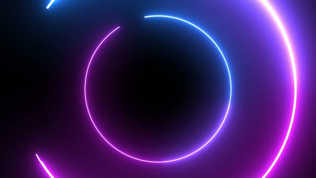 4k Blue Purple Neon Circle lights background