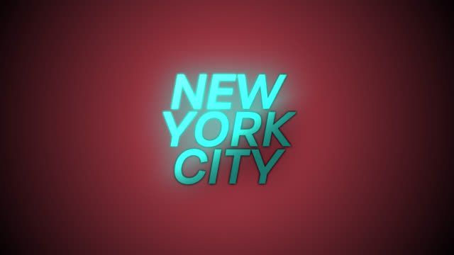 4k Blue word NEW YORK CITY with Red background
