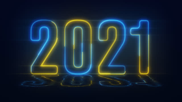 4k Blue Yellow realistic neon 2021, Happy 2021 new year neon banner