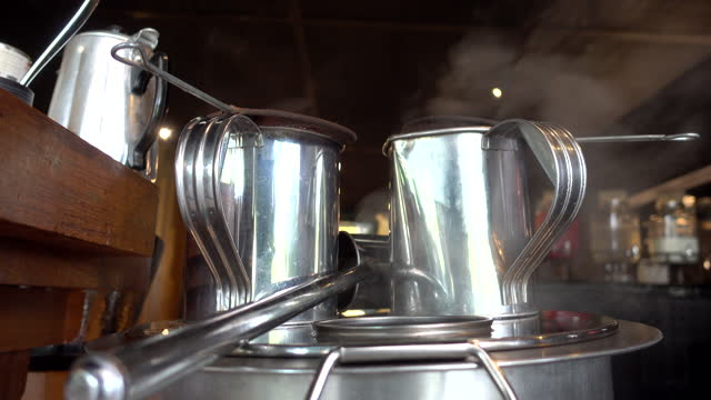 4k : boiling tea pot with retro style, Thai traditional coffee shops