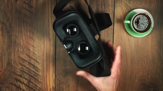 4k Businessman Putting Virtual Reality Headset and Zoom in Shockwave Animation
