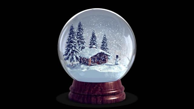 4k christmas snow globe + chroma nyckel + alfakanal - snöflinga bildbanksvideor och videomaterial från bakom kulisserna