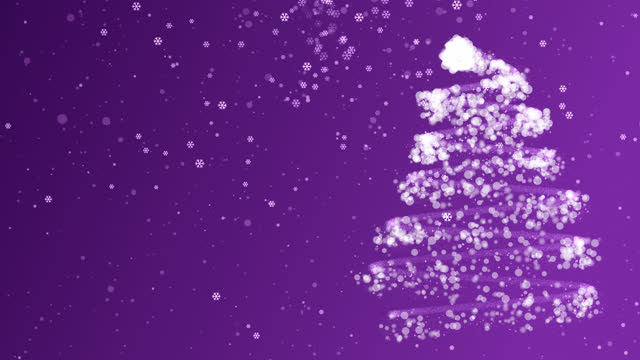 4k Christmas tree With Snow and Snowflake Purple Background