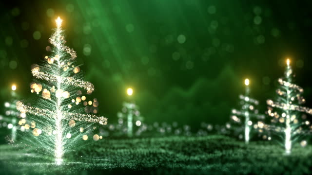 vídeos de stock e filmes b-roll de 4k christmas trees background (green) - loop - feriado