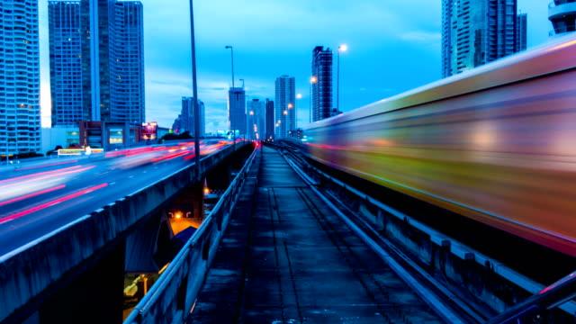 4k City Traffic Time Lapse Bangkok and sky train (BTS) video
