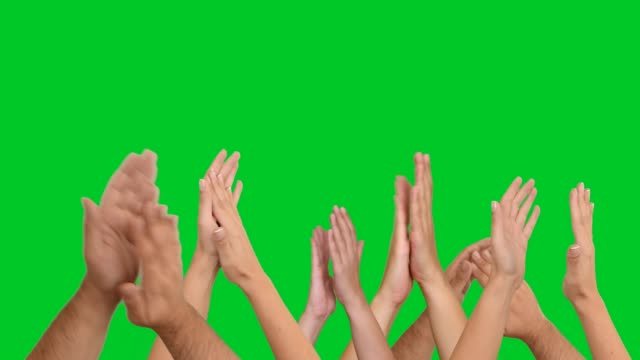 4k clapping hands on chroma key video