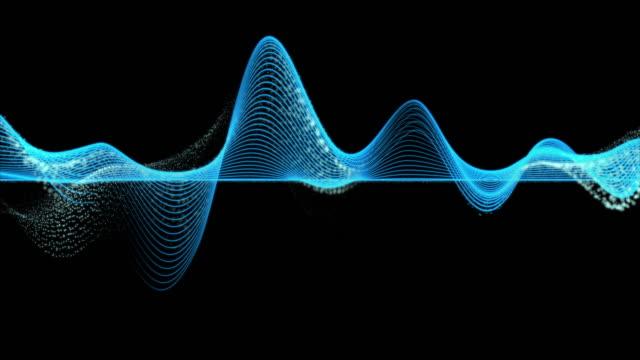 暗い背景、デジタル技術と革新の概念上の抽象的な青のグラフの波線の粒子の4k クリップ - 曲線点の映像素材/bロール