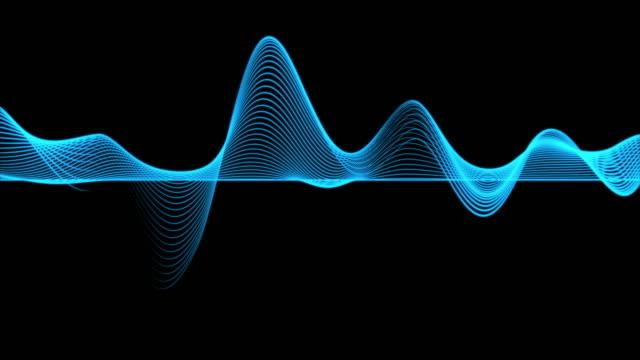 暗い背景、デジタル技術と革新の概念上の抽象的な青いグラフの波線の粒子の4kクリップ - 音波点の映像素材/bロール