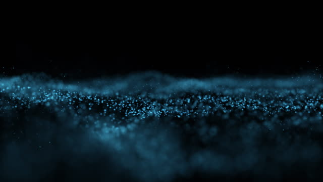 vídeos de stock e filmes b-roll de 4k clip of abstract blue wave particle over dark background, digital technology and innovation concept - design