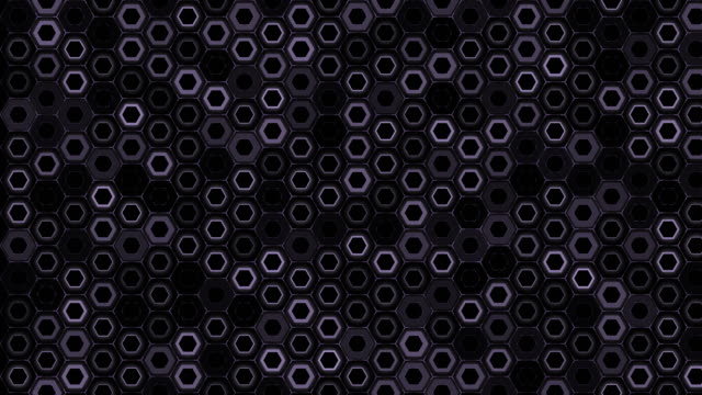 4k clip of Purple hexagonal grid particle with light glow effect motion over abstract hexagon background animation, technology and innovation concept