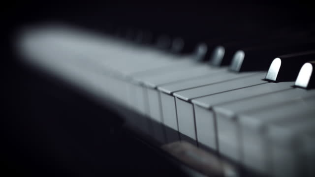 4k Close-up Piano Key, focus changing video
