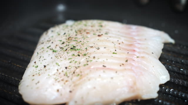 4k Cod Fish Cooking Process, Grilling on Pan video