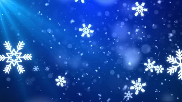 stockvideo's en b-roll-footage met 4k confetti sneeuwvlokken en bokeh lichten op de blauwe achtergrond. - sneeuwkap