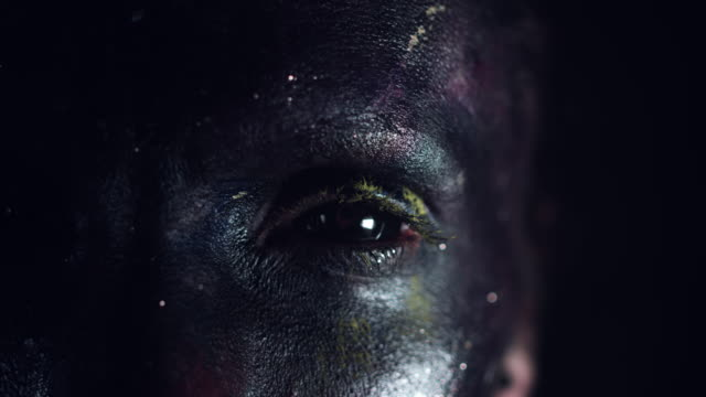 4k Cosmic Shot of a Woman with Alien make-up, Close-up of one Eye video