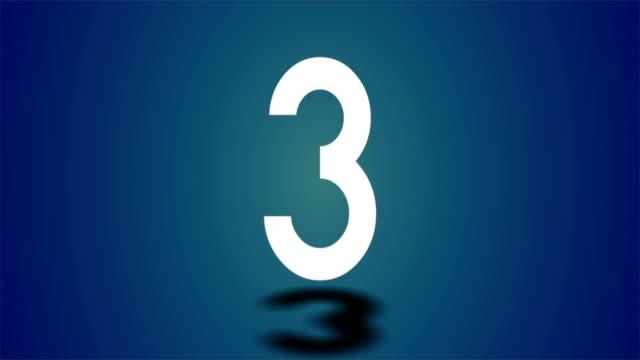 vídeos de stock e filmes b-roll de 4k countdown three second with blue background - três objetos