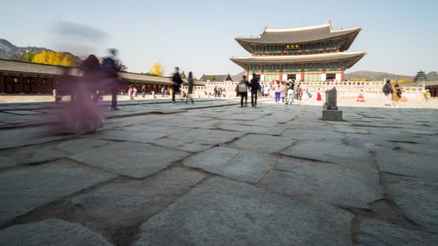 4k crowd of people at Deoksugung Palace at Seoul city in South Korea video