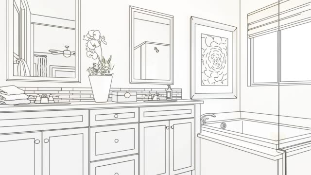 4k Custom Bathroom Drawing Transitioning to Photograph. 4k Custom Bathroom Drawing Transitioning to Photograph. bathroom stock videos & royalty-free footage