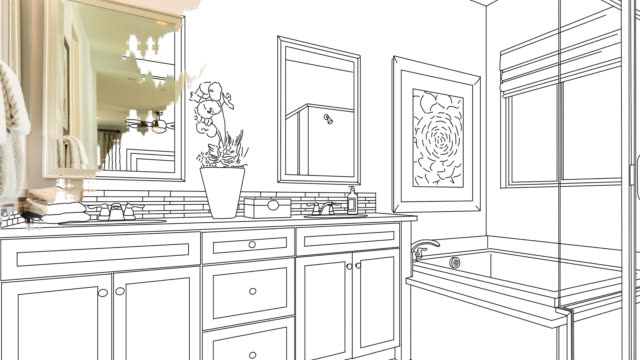 4k Custom Bathroom Drawing Transitioning to Photograph. 4k Custom Bathroom Drawing Transitioning to Photograph With Brush Strokes. renovation stock videos & royalty-free footage