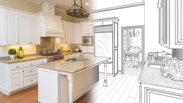 4k Custom Kitchen Drawing Transitioning to Photograph