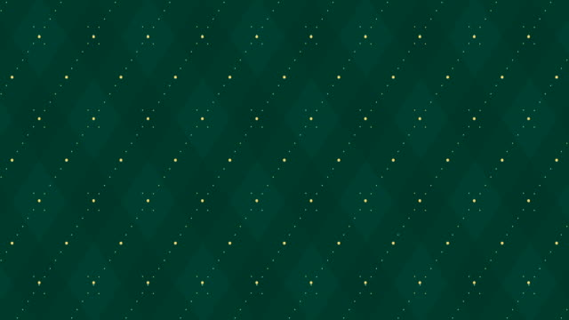 4k Dark green checkered animation with golden dash line. Xmas trendy color party backdrop.