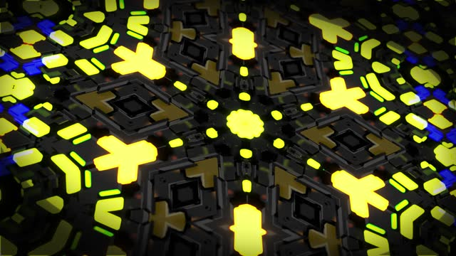 4k dark looped background with abstract symmetrical mechanism and neon light, DOF. Science fiction cyberpunk bg for show or events, exhibitions, festivals or concerts, VJ loop for night clubs