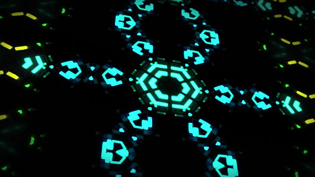 4k dark looped background with abstract symmetrical mechanism and neon light, DOF. Science fiction cyberpunk bg for show or events, exhibitions, festivals or concerts, VJ loop for night clubs video