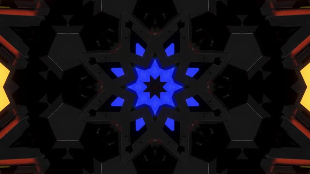 4k dark looped background with abstract symmetrical pattern of geometric 3d and neon light. Science fiction cyberpunk bg for show or events, festivals or concerts, music videos, VJ loop for night club