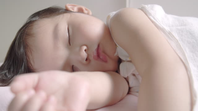 4k DCI Resolution Close up shot of daughter Baby face sleeping at home.
