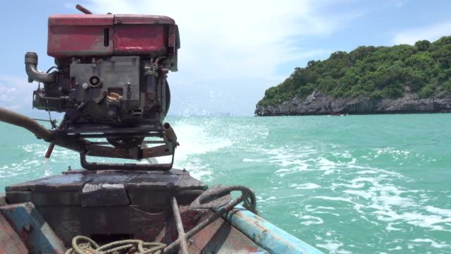 4k: Diesel engine on wooden boat video