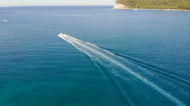 4k drone video, Aerial view of motor yacht in the sea